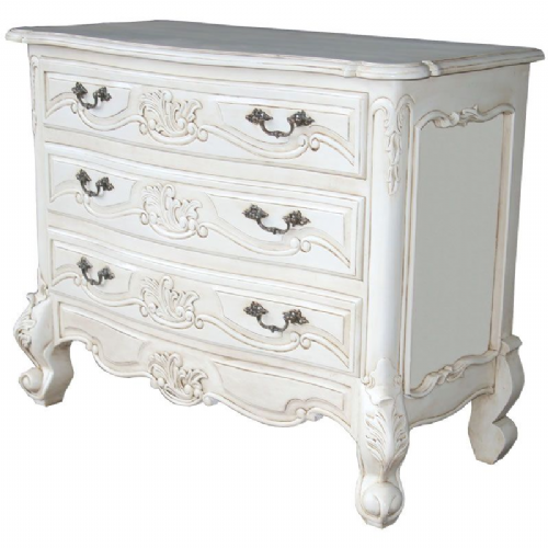 Louis 3 Drawer Chest in Antique White